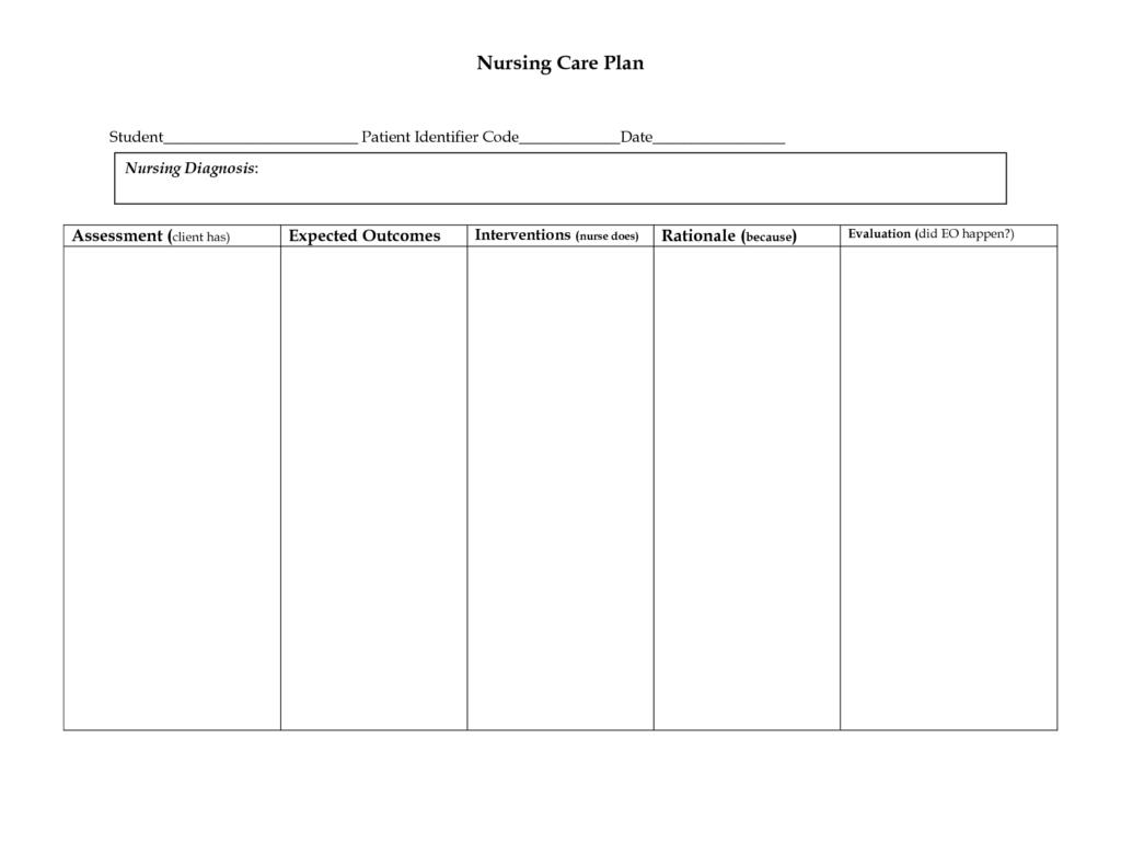 Nursing Care Plan Worksheet   Printable Worksheets And Pertaining To Nursing Care Plan Templates Blank
