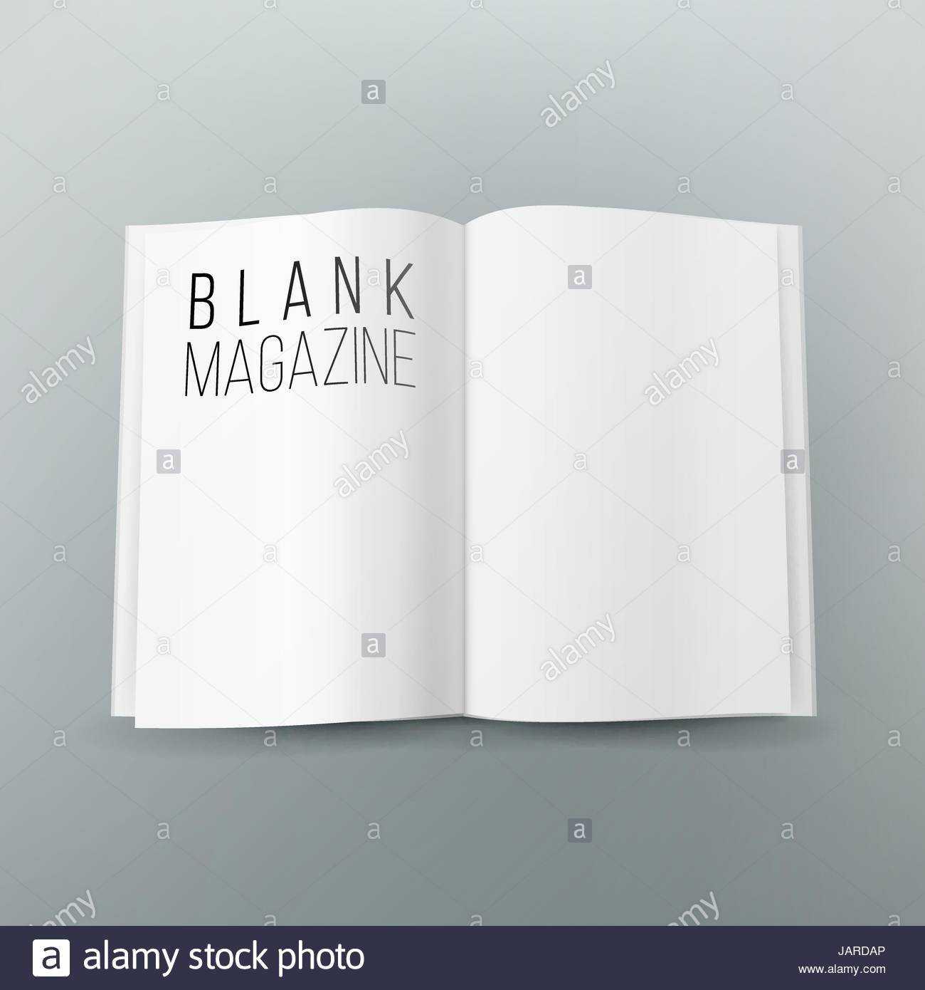 Open Magazine Spread Blank Vector. 3D Realistic Template For Blank Magazine Spread Template
