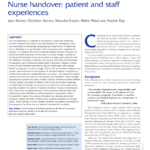 Pdf) Nurse Handover: Patient And Staff Experiences With Charge Nurse Report Sheet Template