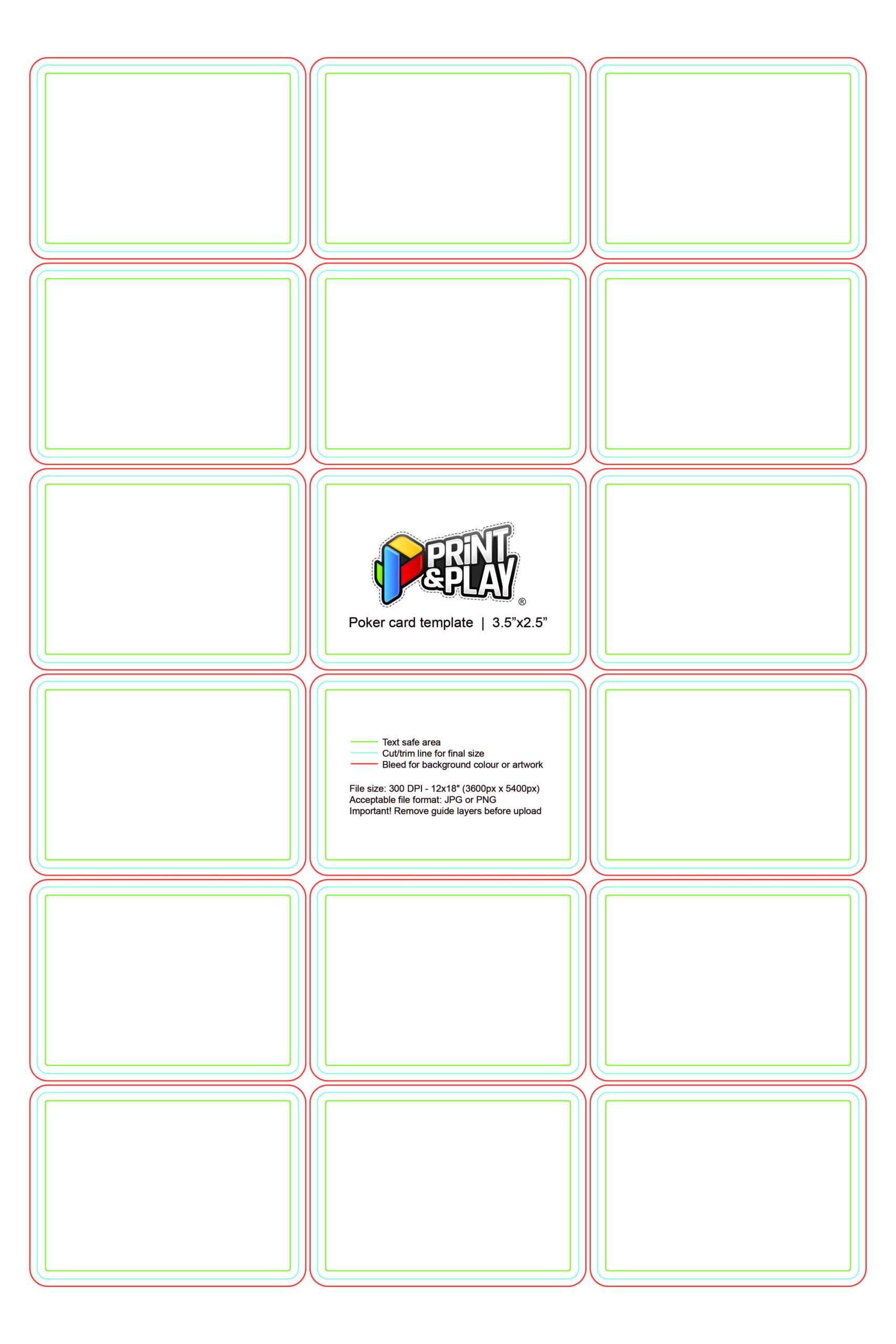 Playing Cards : Formatting & Templates – Print & Play In Blank Playing Card Template