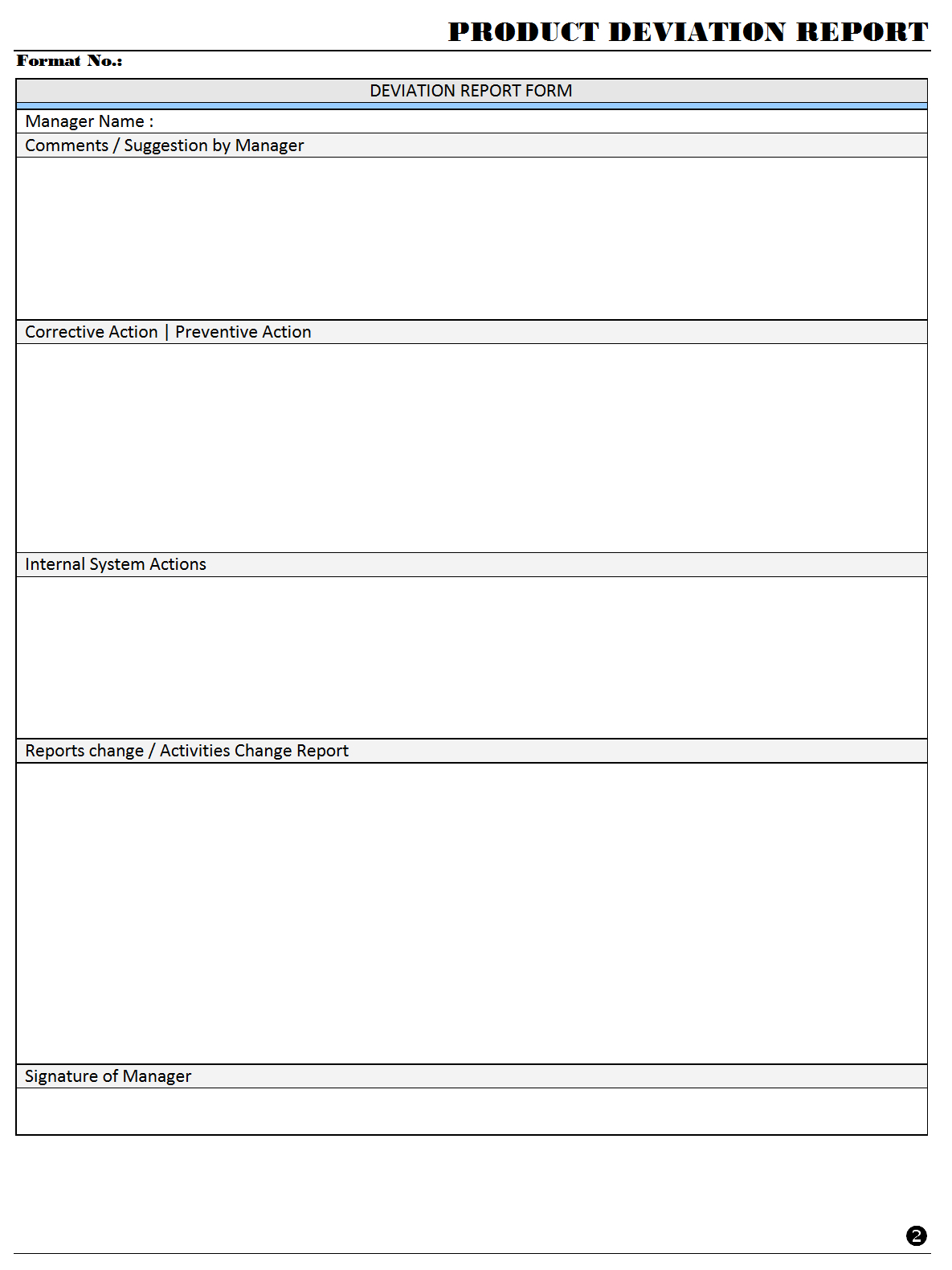Product Deviation Report Format | Samples | Excel Document With Deviation Report Template