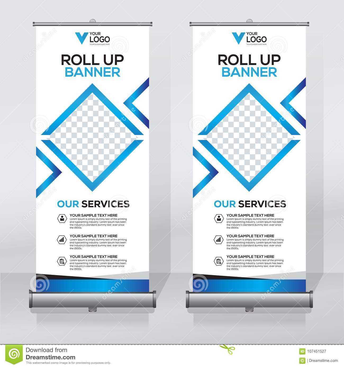 Roll Up Banner Design Template, Vertical, Abstract In Pop Up Banner Design Template