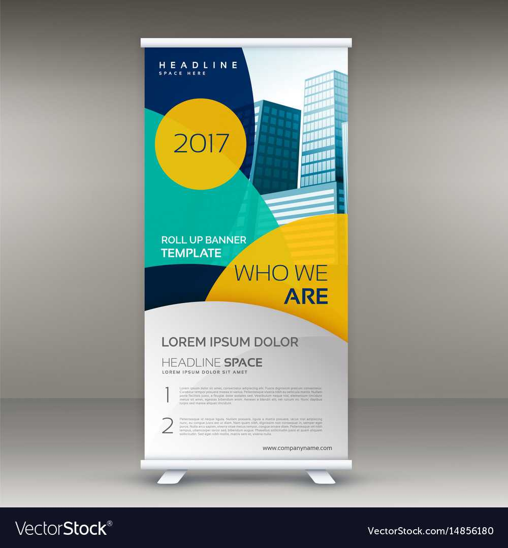 Roll Up Banner Design Template With Modern Shapes In Pop Up Banner Design Template