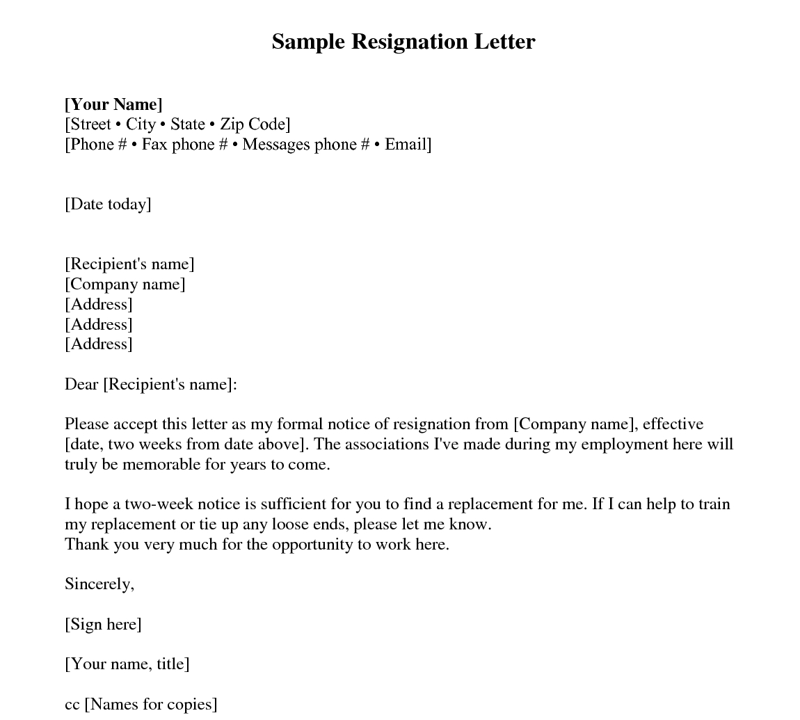 Sample Resignation Letter 2 Weeks Notice – Every Last Intended For Two Week Notice Template Word