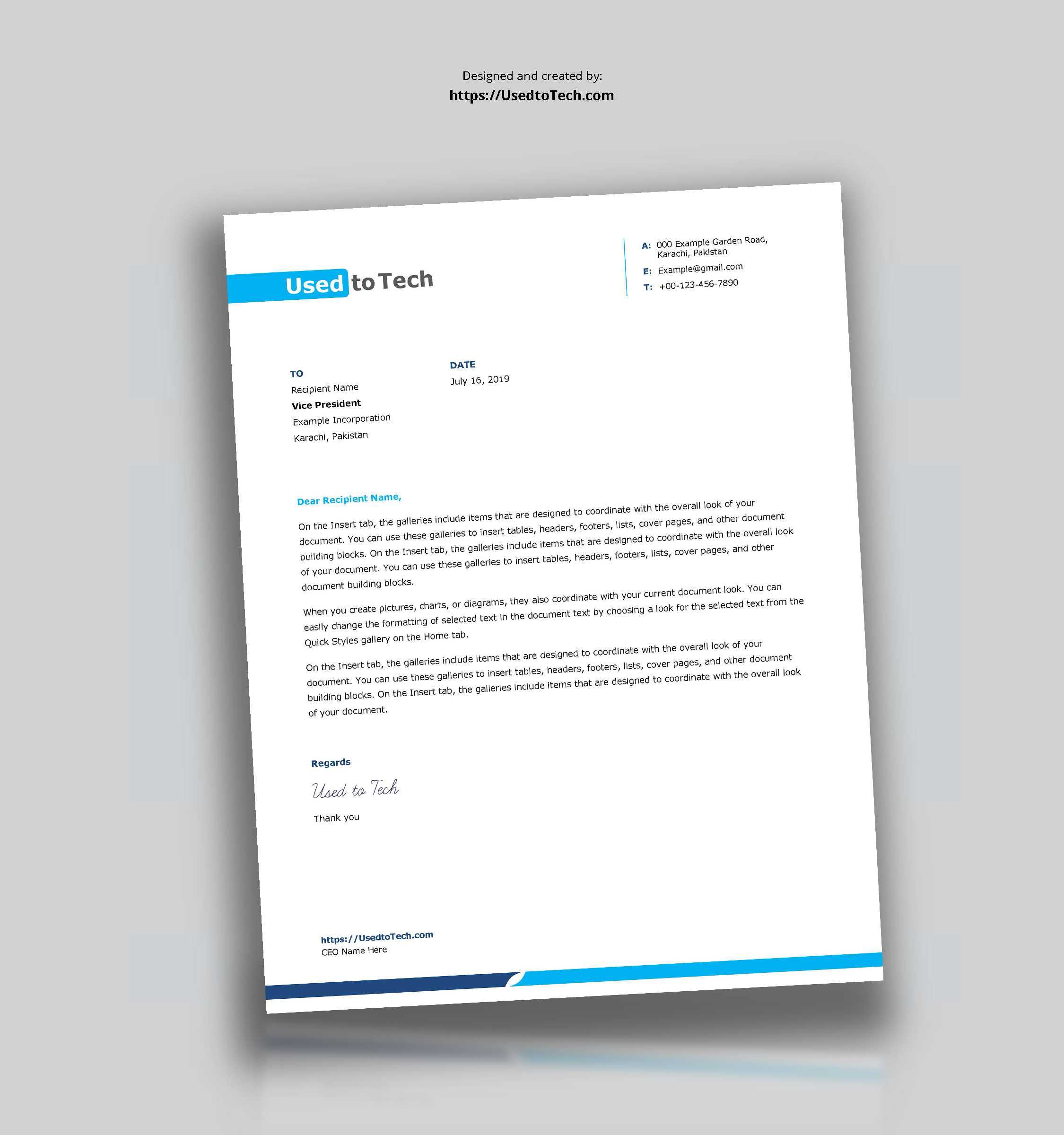 Simple And Clean Word Letterhead Template – Free – Used To Tech With Word Stationery Template Free