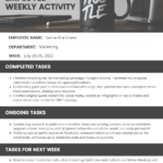 Simple Employee Weekly Report With Wrap Up Report Template
