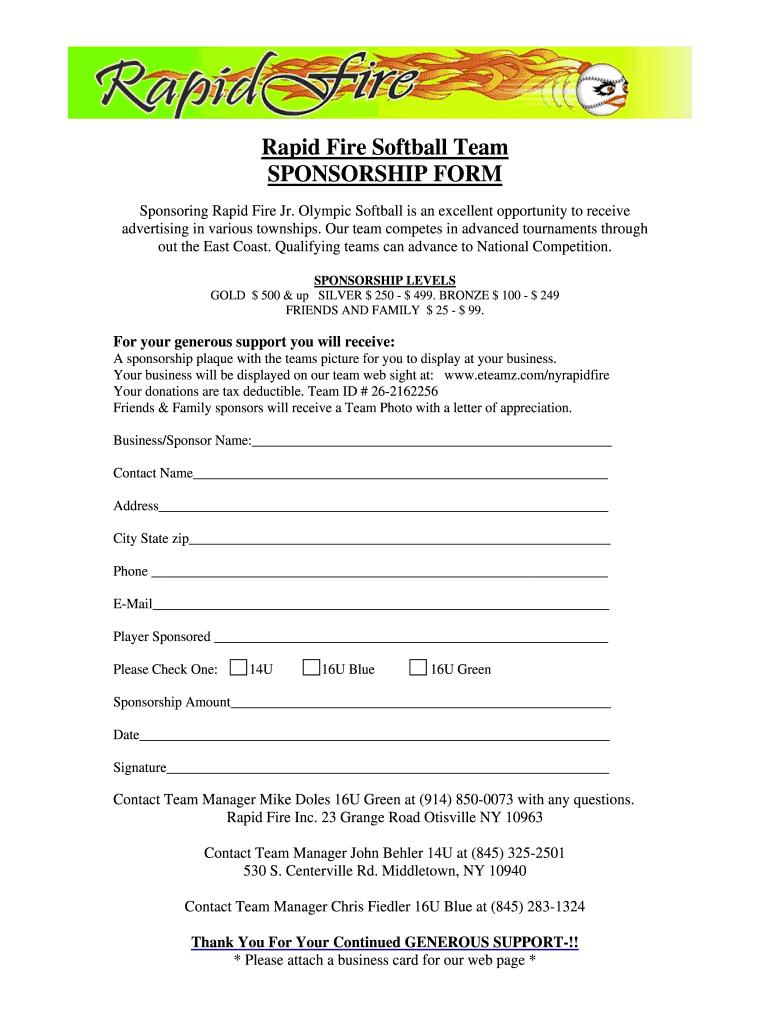 Softball Sponsorship Form – Fill Online, Printable, Fillable For Blank Sponsorship Form Template