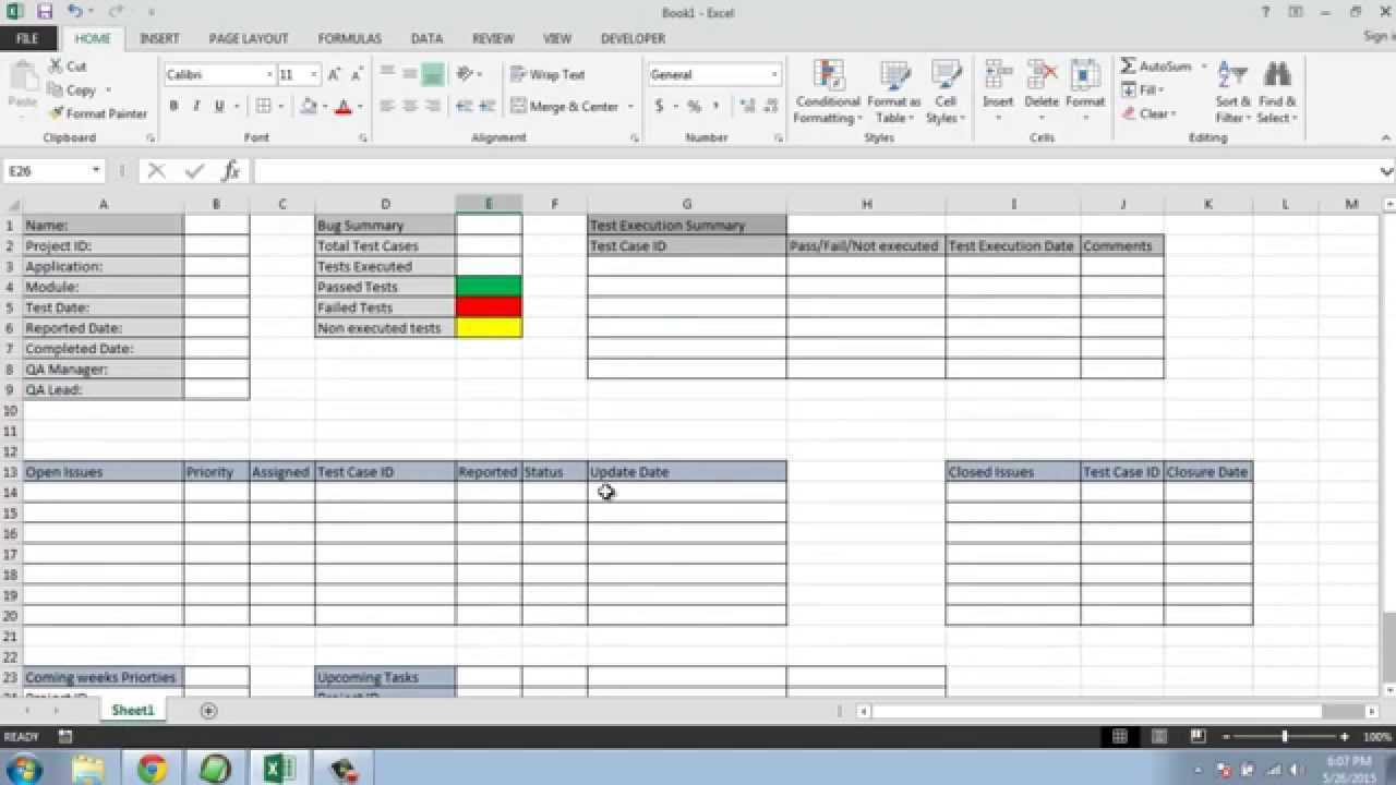 Software Testing Weekly Status Report Template Intended For Test Summary Report Excel Template