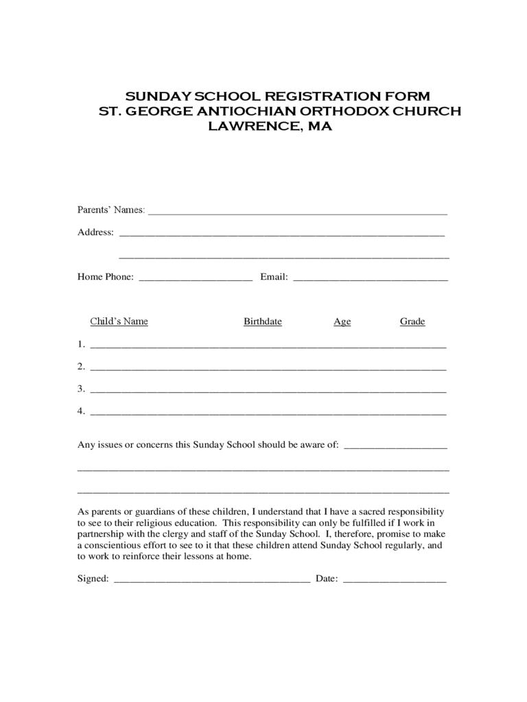 Sunday School Registration Form – 2 Free Templates In Pdf Inside Registration Form Template Word Free