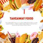 Takeaway Food Banner Template With Delicious Fast Food Dishes,.. In Food Banner Template