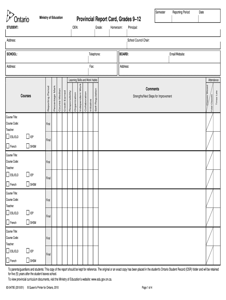 Tdsb Report Card Pdf – Fill Online, Printable, Fillable Throughout Middle School Report Card Template