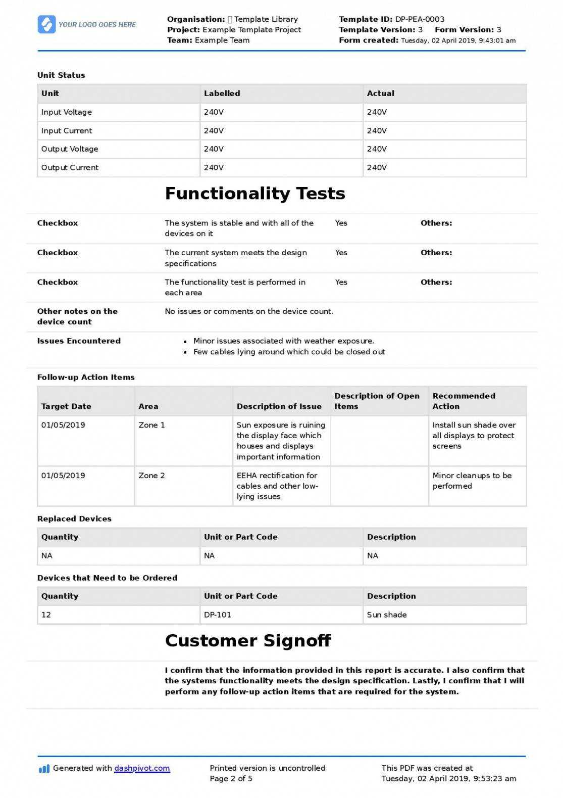 Technical Service Report Template Pertaining To Customer Contact Report Template