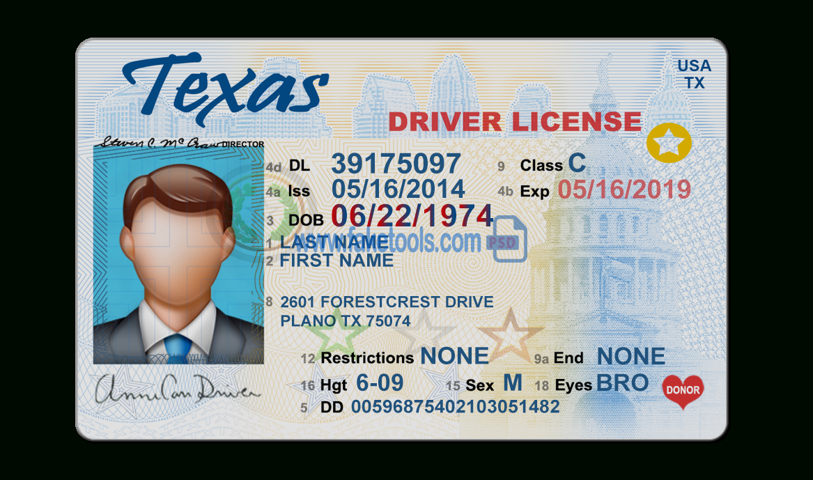Texas Driver License Psd Template Pertaining To Blank Drivers License Template
