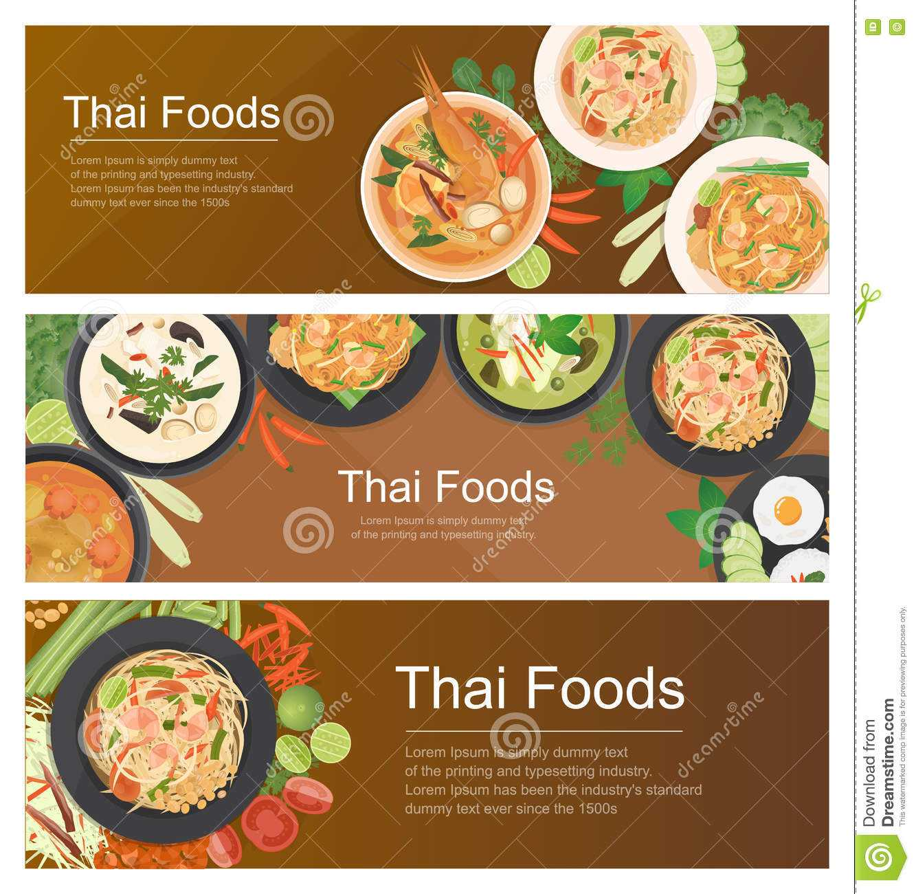 Thai Food Banner Template Stock Vector. Illustration Of With Food Banner Template