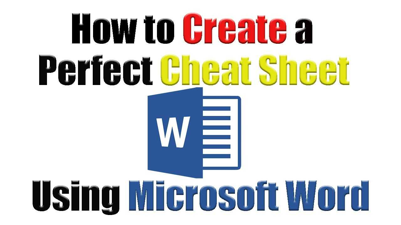 Tutorial | How To Create The Perfect Cheat Sheet Using With Cheat Sheet Template Word
