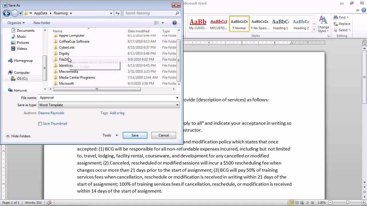 Word 2010 – Save A Document As A Template For Future Documents With Word 2010 Template Location