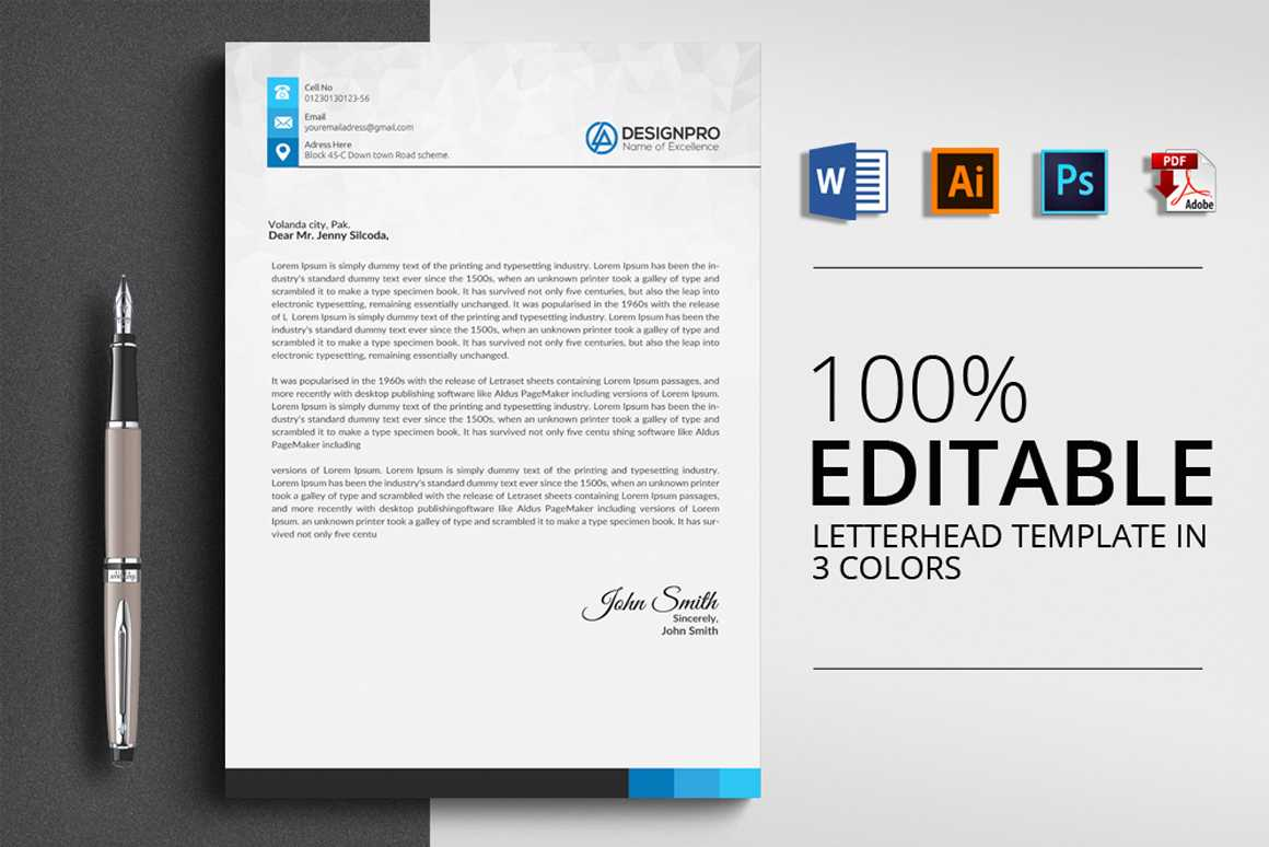 Word Letterhead Template – Vsual Inside Word Stationery Template Free