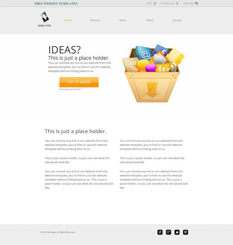 Zerotype A Blank Canvas Template - Web Template » All Free With Regard To Blank Food Web Template